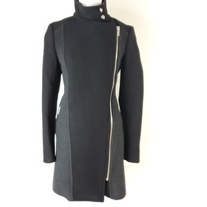 Aritzia Wilfred black wool coat w asymmetrical zip